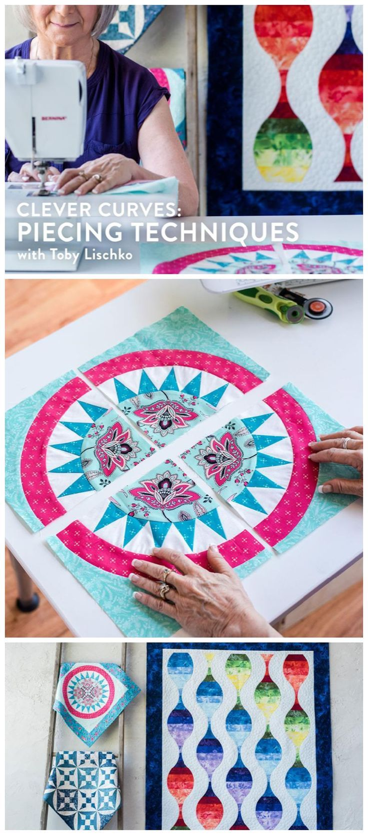 Clever Curves:  Piecing Techniques.  Learn how to piece curves for   quilting.  Quilting curves.  techniques to help you create pucker-free   curves, first using a simple pinning technique and then with paperless   foundation piecing, all   building up to
