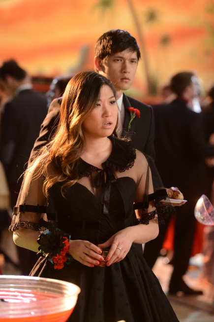 Jenna Ushkowitz in Sherri Hill 2843 on the Glee prom episode.: Gleek Freak, Jenna Ushkowitz, Chris Colfer, Prom Theme, Harry Shum, Darren Criss, Prom King, Class Presidents, High Schools