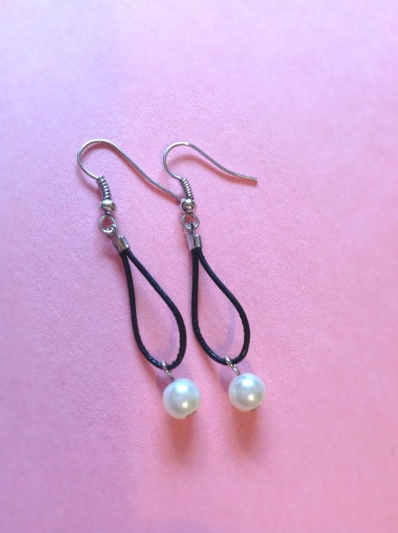 Pearl and Leather Earrings Small Gift for Coworker by BalmDesigns