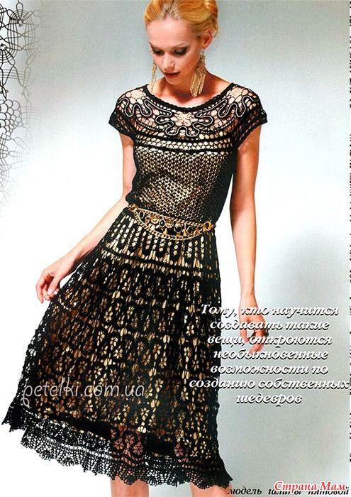 . Шикарное платье в технике брюгге. Схемы вязания, описание - Все в ажуре…