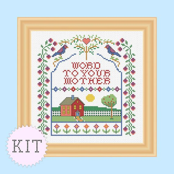 KIT Cross Stitch funny sampler Word to Your Mother on Etsy, $17.50