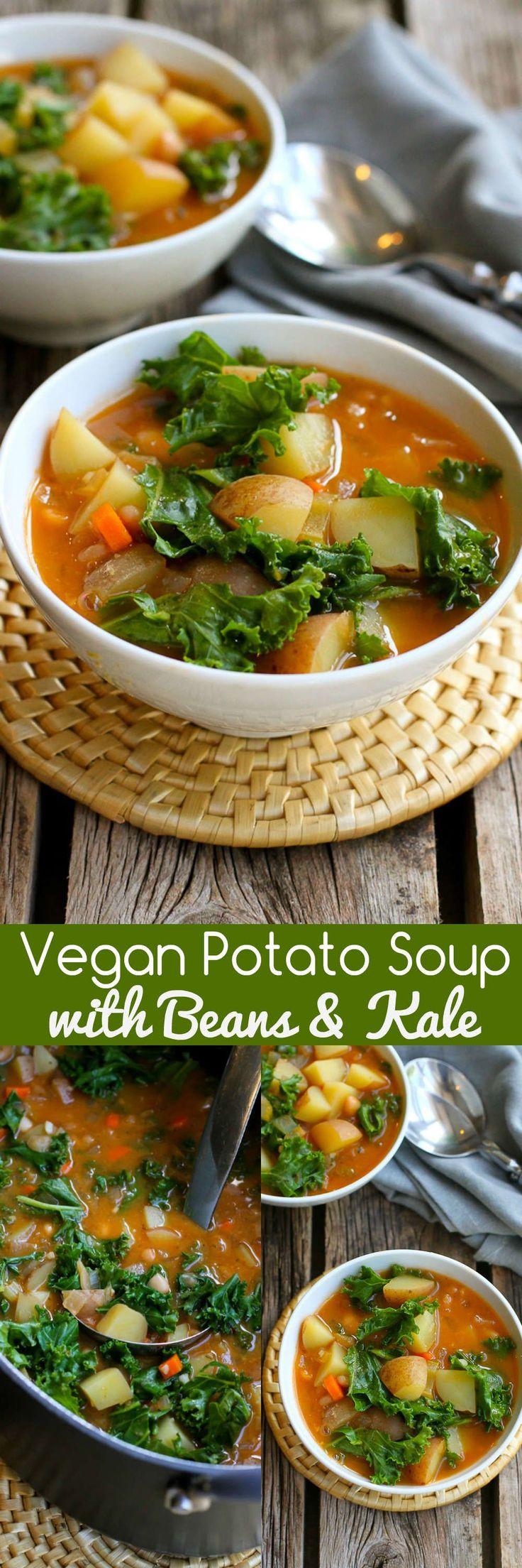 Sopa de patata Vegana con Frijoles y Kale ... Probablemente tengas todo en tu nevera y despensa para hacer esta deliciosa receta de sopa saludable! Genial para noches ajetreadas. 211 calorías y 5 Weight Watchers SmartPoints
