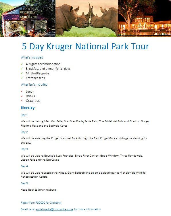 5 Day Kruger National Park Tour