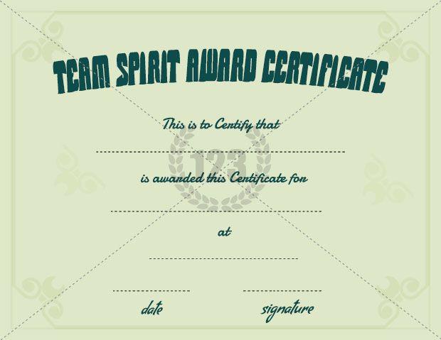 Team Spirit Award Certificate Template Free Download ...