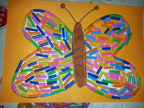cannucce, collage, farfalle, laboratorio, bimbieasy, riciclo cannucce,