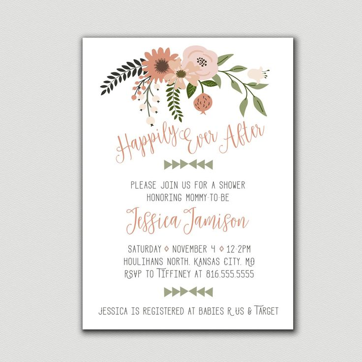 This adorable, floral happily ever after themed baby shower invitation is just what you need for a new princesses shower.  GAMES----------> http://etsy.me/2wfSm93 TABLE SIGNS ----------> http://etsy.me/2wPCfm2  Baby Shower | Baby Shower Invitation | Shower Invitation | Flowers | Floral | Boho | Chic | Happily Ever After | Arrows | Pink | Peach