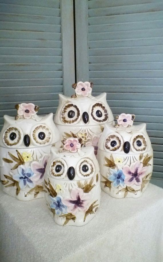 Owl Cookie Jar Set Vintage 70 S Owl Kitchen Decor