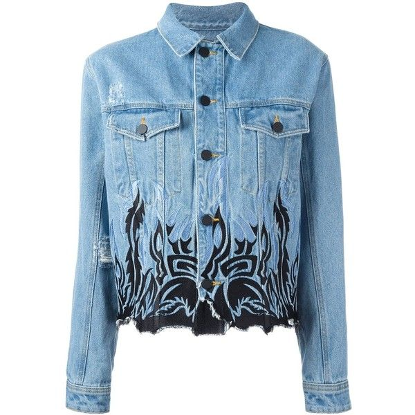 Filles A Papa tribal embroidery denim jacket found on Polyvore featuring outerwear, jackets, tops, denim, blue, blue jean jacket, embroidery jackets, embroidered jean jacket, denim jacket and blue jackets