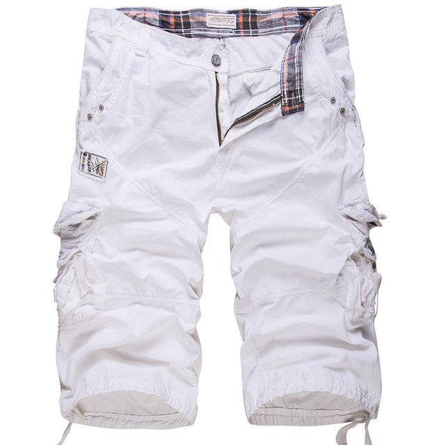 High quality new fashion style white men short beach mens Baggy cargo shorts casual multi-pocket washing short bermuda masculina