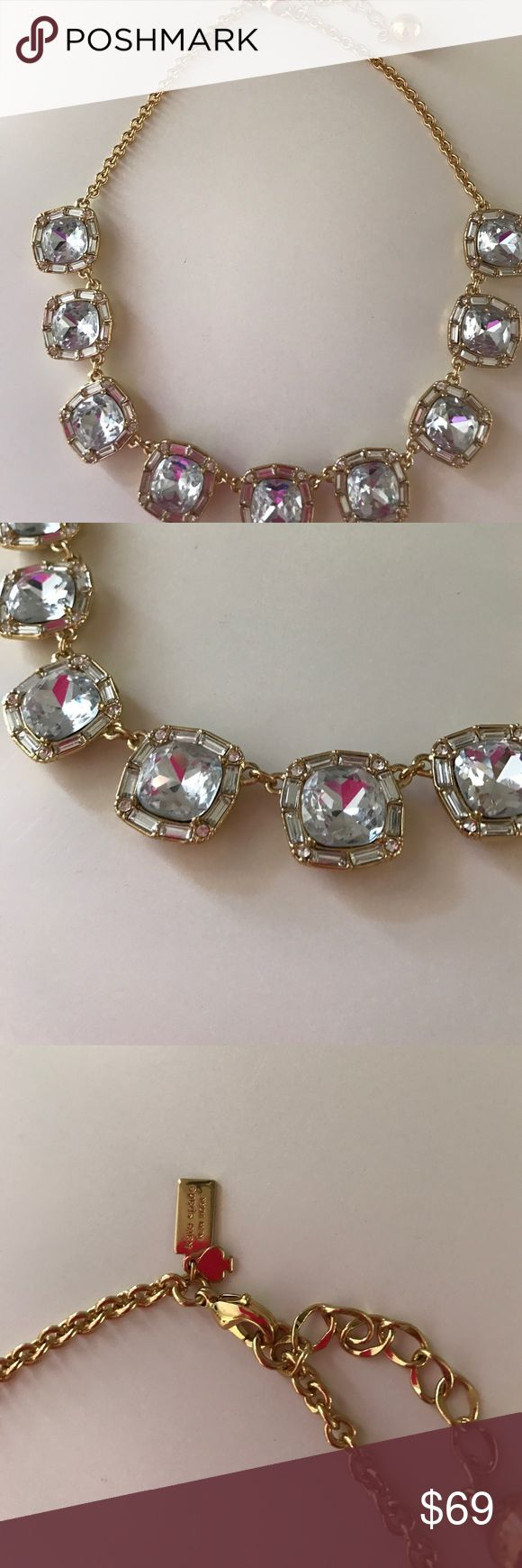 Kate Spade Super Sparkly Crystal Necklace Worn once for work and in excellent condition! No tarnishing, all gems secured and gorgeous! kate spade Jewelry Necklaces