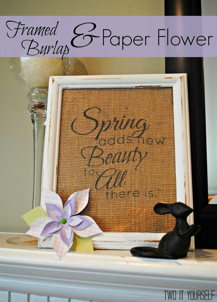 Framed Burlap and Paper Flower Spring Sign
