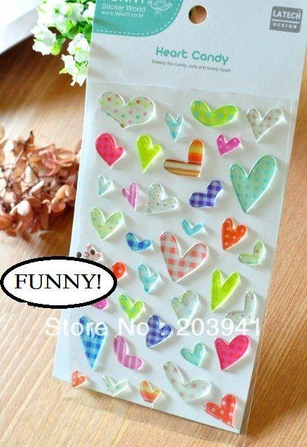 Free Shipping/NEW 1 pcs/set love heart DIY Multifunction  deco PVC sticker/Decoration label/gif/Wholesale