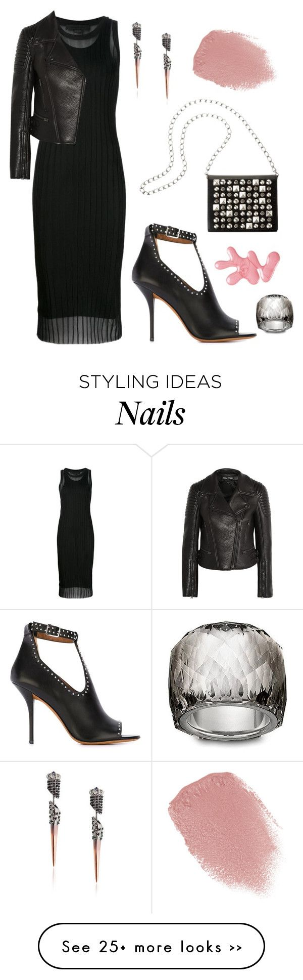 """NYFW All Black"" by dominosfalldown on Polyvore featuring Alexander Wang, Givenchy, Tom Ford, Swarovski, Lipstick Queen, Katie Rowland and nyfwafterparty"