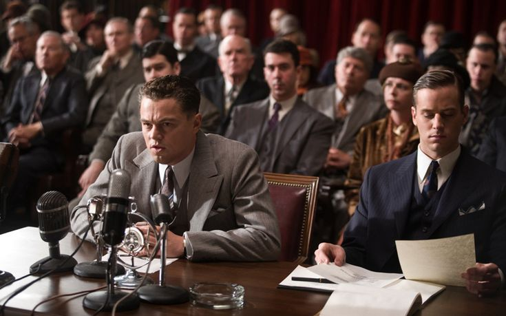 (L-r) LEONARDO DiCAPRIO as J. Edgar Hoover and ARMIE HAMMER as Clyde Tolson in Warner Bros. Pictures' J. EDGAR.
