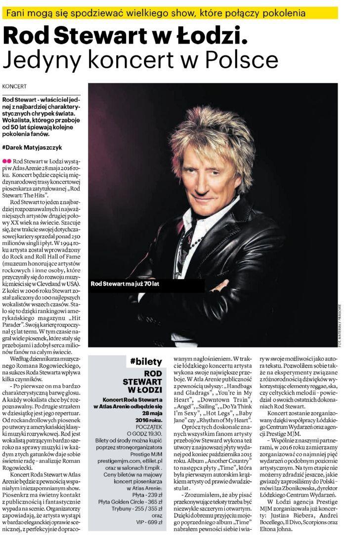 #NaszeMiasto: #RodStewart w Łodzi. Jedyny #koncert w Polsce. Fani mogą się spodziewać wielkiego show, które połączy pokolenia.