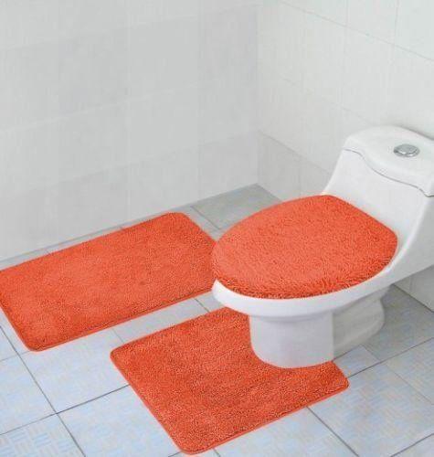 3 #Piece #Bathroom Rug, Contour Rug and Lid Cover Set, Hailey Rug Set (Orange) #N1212
