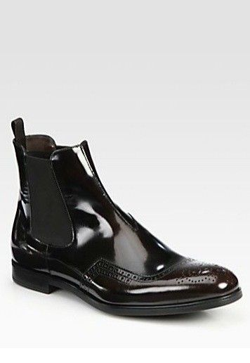 PRADA Couture Mens Dress Leather Boots Shoes Wingtip Burgundy
