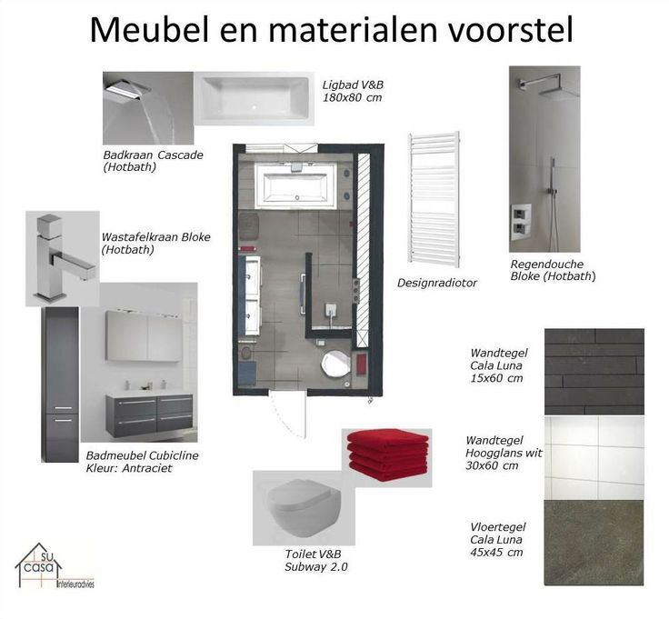 Nieuwe Badkamer Eindhoven ~   en materialen voorstel badkamer  Badkamer  Bathroom  Pinterest