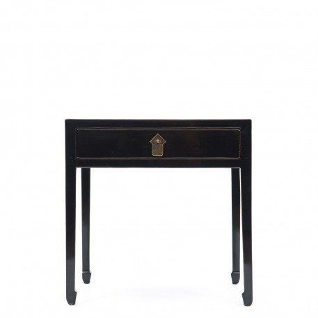 Lacquered Lamp Table| Black Bedside Table | Orchid