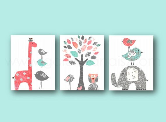 Coral and Turquoise Baby Girl Nursery Decor Elephant Giraffe Tree Birds Baby Nursery Wall Art Set of three prints $39.00