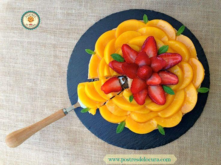 Tarta de fruta y crema pastelera sin horno. No bake fruit and custard tart.