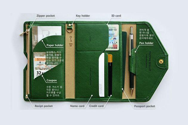 韓款多功能超薄軟皮護照包