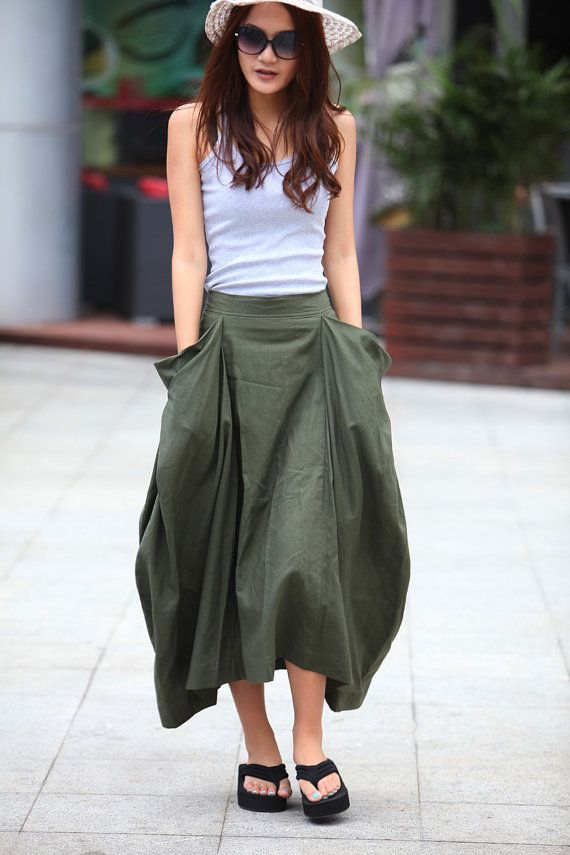 Lagenlook Maxi Skirt Big Pockets Big Sweep Long Skirt in Army Green Summer Linen Skirt - NC144