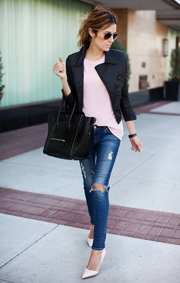 #winter #fashion /  Leather Jacket + Pink Top