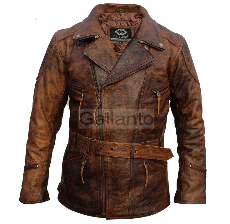 Eddie Mens 3/4 Motorcycle Biker Brown Distressed Vintage Leather Jacket   eBay