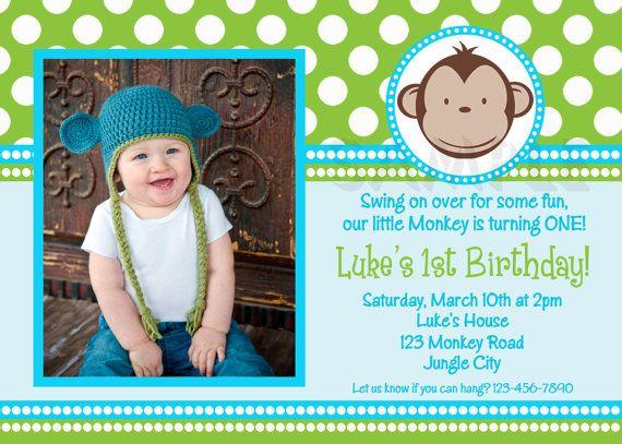 Monkey Birthday Invitation 1st Birthday Polka Dot Birthday Party Invitation Boys or Girls Printable