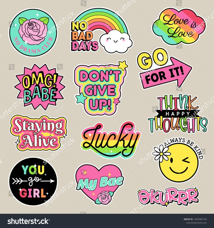 Set Fashion Patches Cute Colorful Badges Stock Vector
