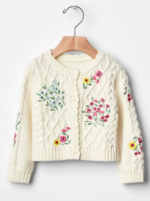 Floral cable knit cardigan. | Gap