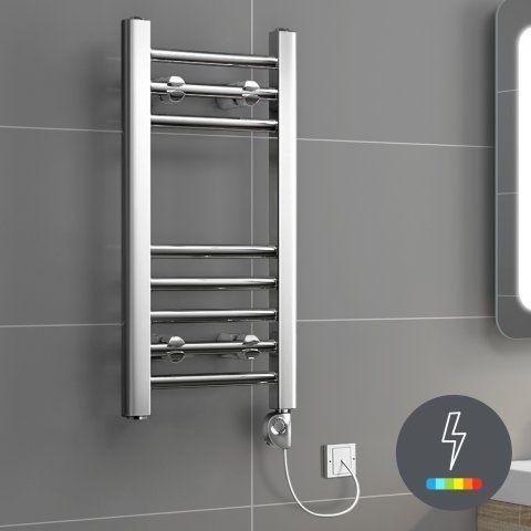 BATHROOM TOWEL RAIL (W30CM) Ladder Rail Modern Dual Fuel Towel Radiator in Chrome 600mm x 300mm - soak.com