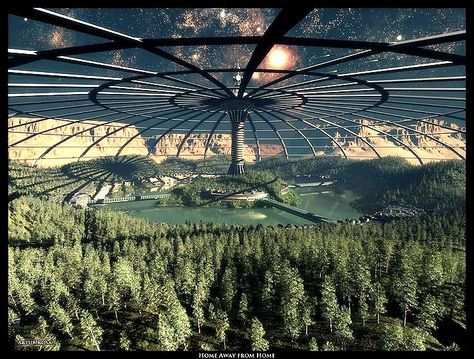 Moon Colony Forest under a huge dome by ArthurBlue. #MoonColony #Dome #ArthurBlue