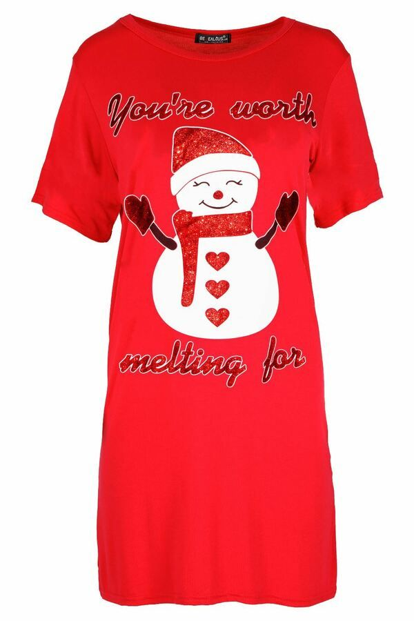 Fashion Star Womens Ladies Christmas Turn Up Sleeve Snowman Tree Candy Oversized Baggy Xmas T Shirt