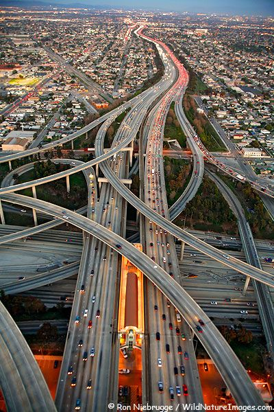 Interchange between the Harbor Freeway 110 and the Glenn Anderson Freeway 105, Los Angeles,