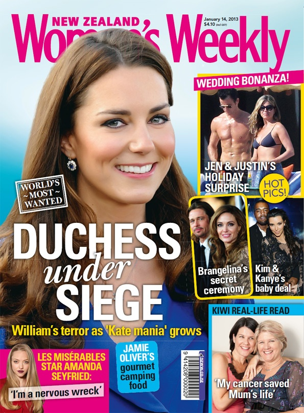 """In this week's issue, with """"Kate mania"""" reaching fever pitch around the world, Prince William is stepping in to protect his wife.  It's war of the posers as Tom Cruise and Katie Holmes step up their separation show, plus read about Brad and Angelina's """"surprise"""" wedding.  Away from the pressure of politics, Labour leader David Shearer shares his piece of paradise.  Nothing Trivial star Will Hall finds his rock in a year of ups and downs. Read all about Will's rollercoaster year."""