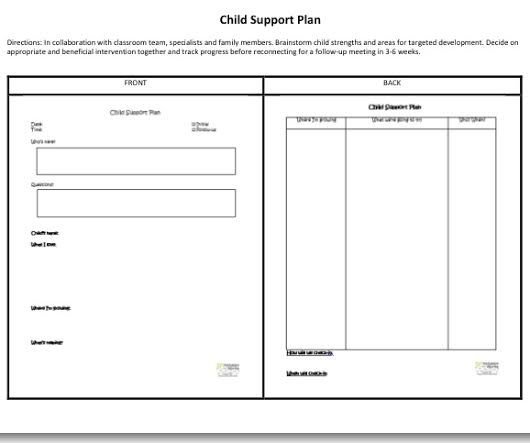 sample preschool child support plan created through