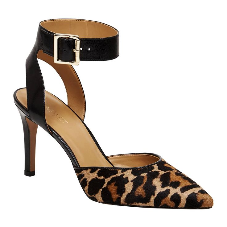 Step out in style with these sleek on-trend pumps. They feature an adjustable buckle closure, leather upper with a chic pointed toe. Suede upper, 8.5cm heel height from Nine West