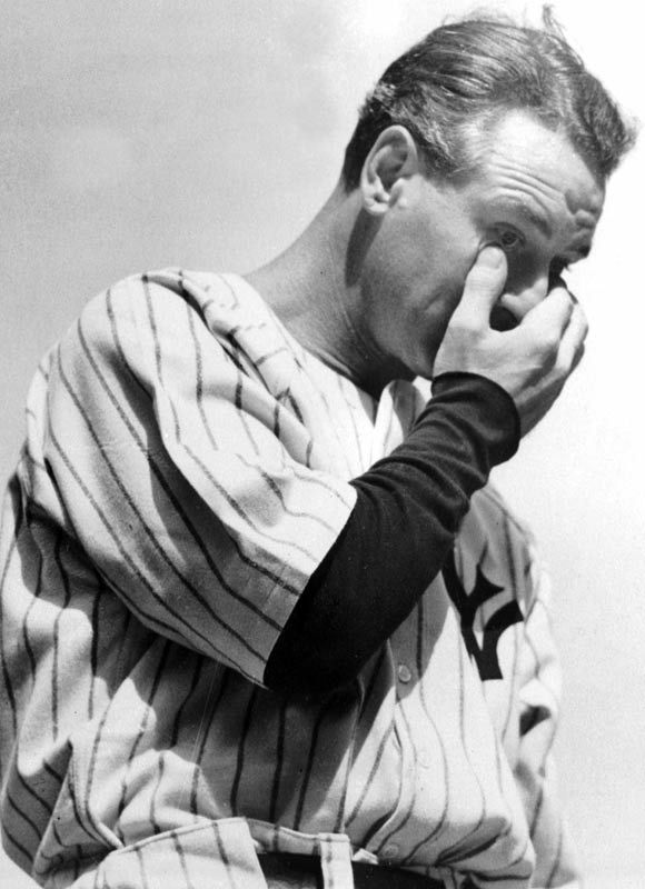 "Lou Gehrig ""today I consider myself the luckiest man on the face of the earth"""