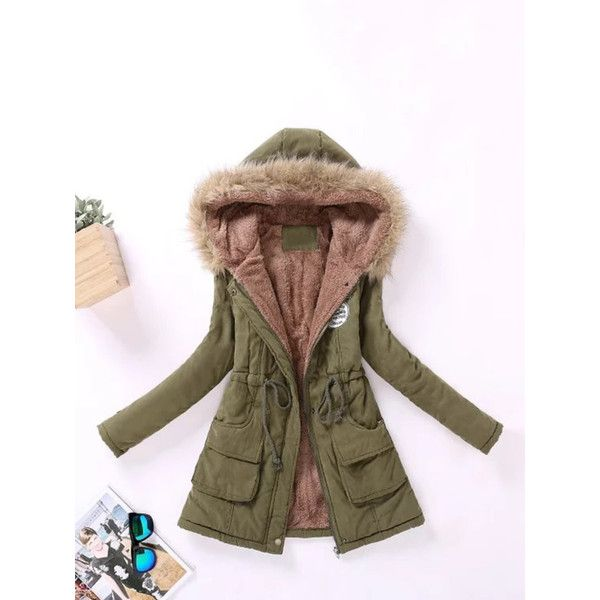 Faux Fur Lined Parka Coat ($4.99) ❤ liked on Polyvore featuring outerwear, coats, parka coats, brown coat, brown parka, faux fur lining coat and brown parka coat