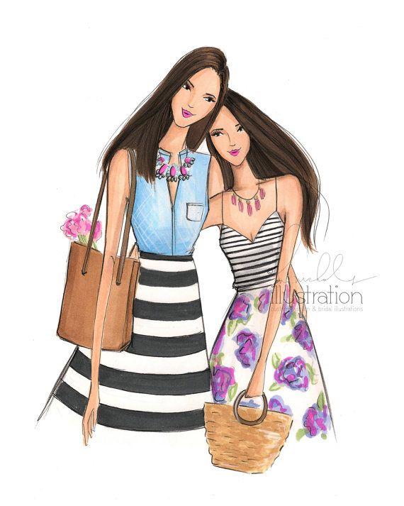 Mother & DaughterPrint by HNIllustration on Etsy