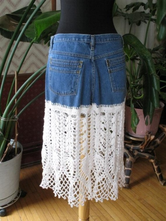 jeans recycled skirt lace or crochet