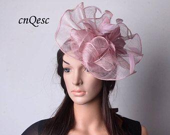 Nouveau Heather rose gros bibi avec fleur en plumes, idéal pour église courses de Kentucky derby mariage fête