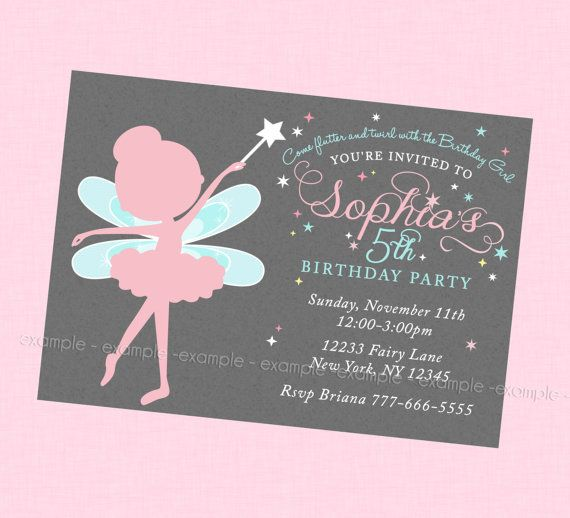 beautiful fairy birthday invitation