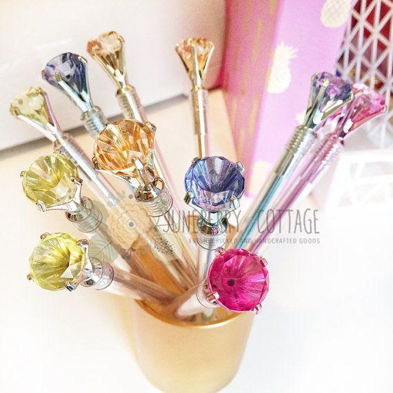 Gem Pen - Kawaii Pen, Cute Pen, Jewel Pen, Planner Supplies, Super Cute, School Supplies, Crystal Pen, Pearl, Shine Bright, Diamond, Sparkle