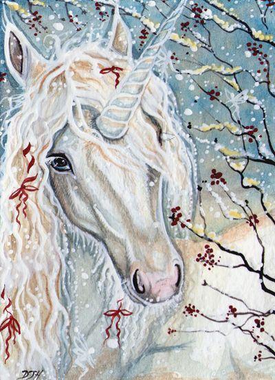 ACEO - A Christmas Unicorn by DawnUnicorn.deviantart.com on @deviantART