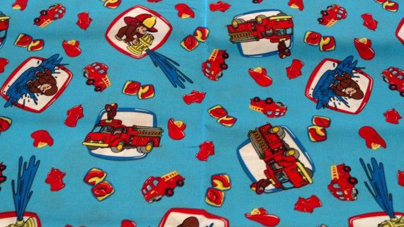 Curious George with Fire Trucks Cotton Fabric by KeaglesSewingShop, $3.50