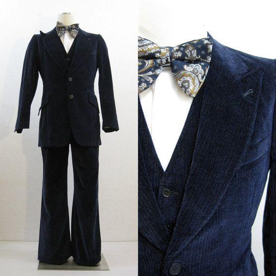 70s Men's Blue Velvet 3 Piece Suit @ voguevintage on Etsy
