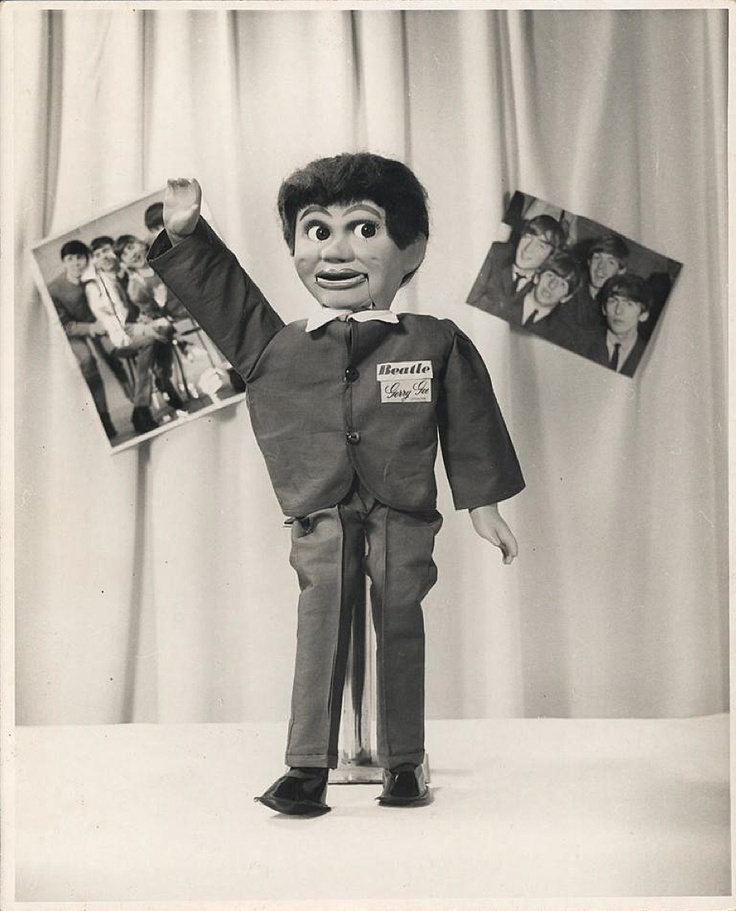 The Tarax Show, an early Australian children's TV program on GTV-9 in Melbourne running from 1957 to 1969, was hosted by ventriloquist Ron Blaskett and his mischievous doll, Gerry Gee. The 'Gerry Gee Junior' doll is considered the first real example of television merchandising in Australia. Throughout the early and mid 1960s several new styles of 'Gerry Gee Juniors' were produced to reflect contemporary fashions, interests and events — including this Beatle Gerry Gee.